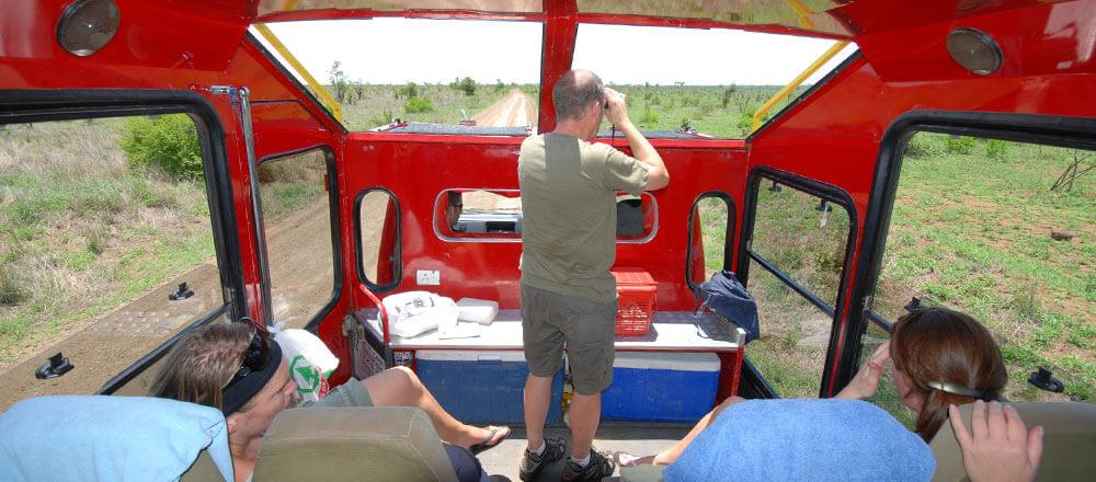Tourfahrzeug vin Innen - komfortable Safaris im Truck - für perfekte Pirschfahrten