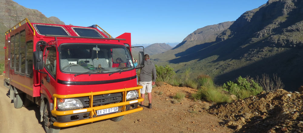 Der Safari Truck - mit dem speziell umgebauten Safari Fahrzeug in den Zederbergen