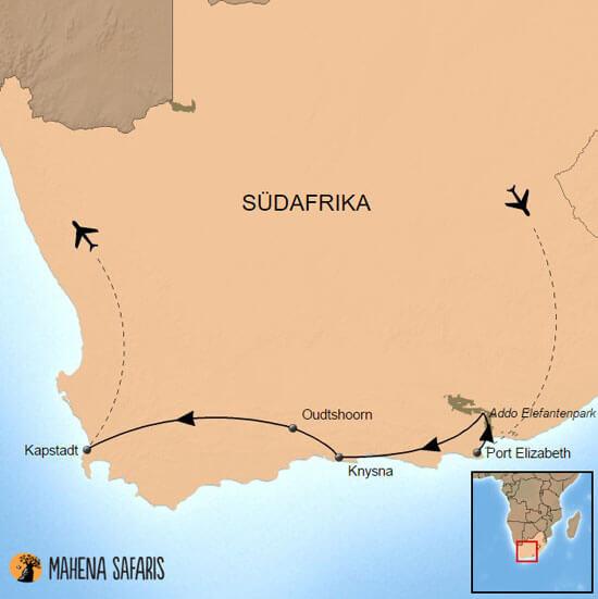 Karte Südafrika Garden Route.Kleingruppenreise Südafrika Zauberhafte Gardenroute Mahena Safaris