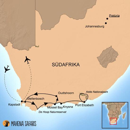 Karte Südafrika Garden Route.Selbstfahrerreise Südafrika Gardenroute Addo Np Mahena Safaris