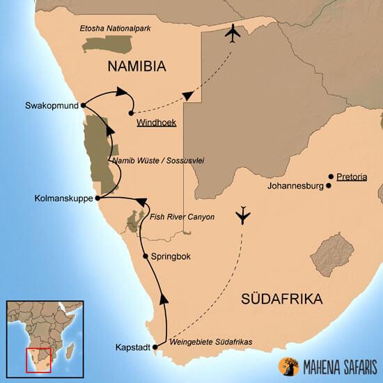 Namib Wüste Karte.Länderkombi Südafrika Namibia Selbstfahrrerreise Mahena Safaris