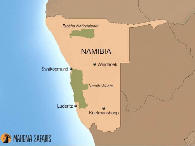 Namib Wüste Karte.Reiseinformation Namibia Mahena Safaris